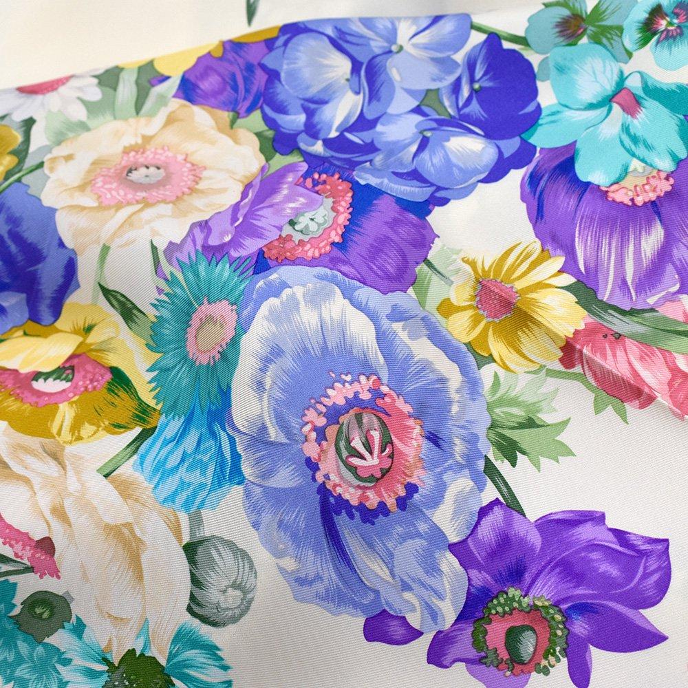 田園の花(CM6-818) 伝統横濱スカーフ 大判 シルクツイル スカーフの画像5