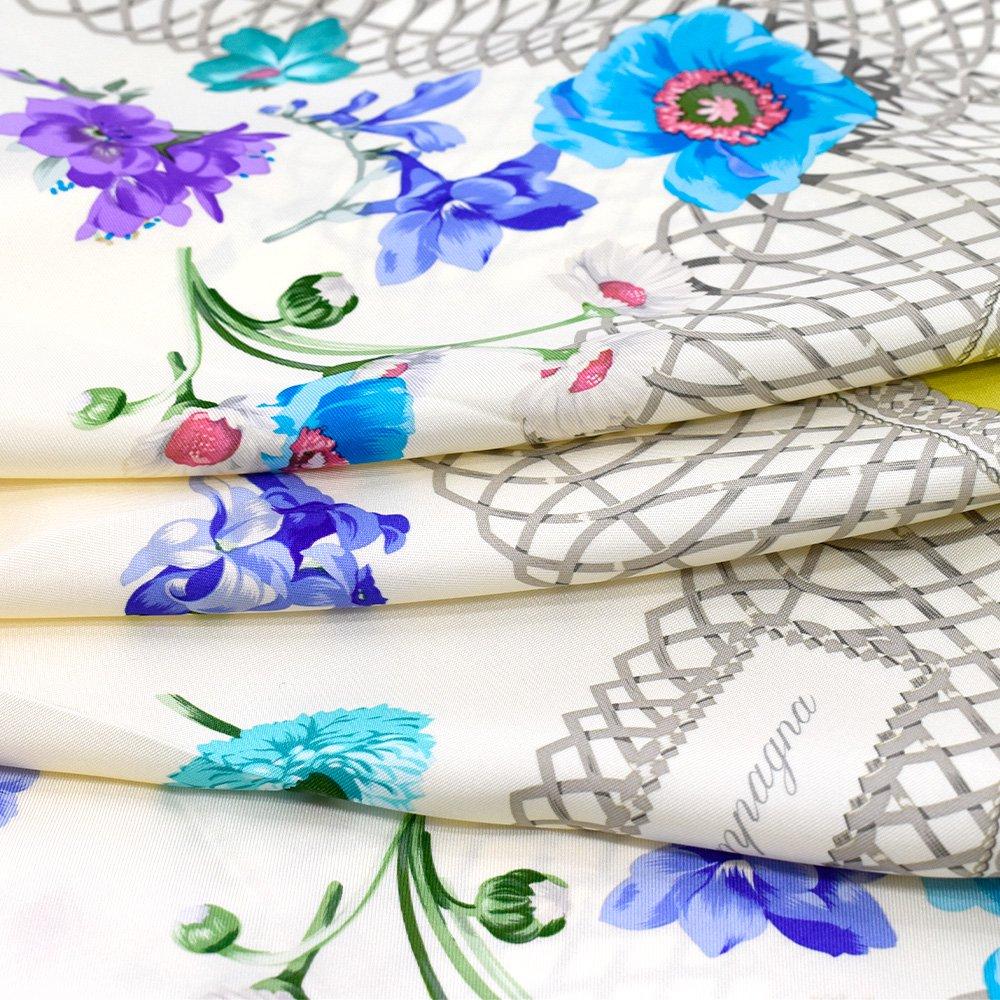 田園の花(CM6-818) 伝統横濱スカーフ 大判 シルクツイル スカーフの画像6