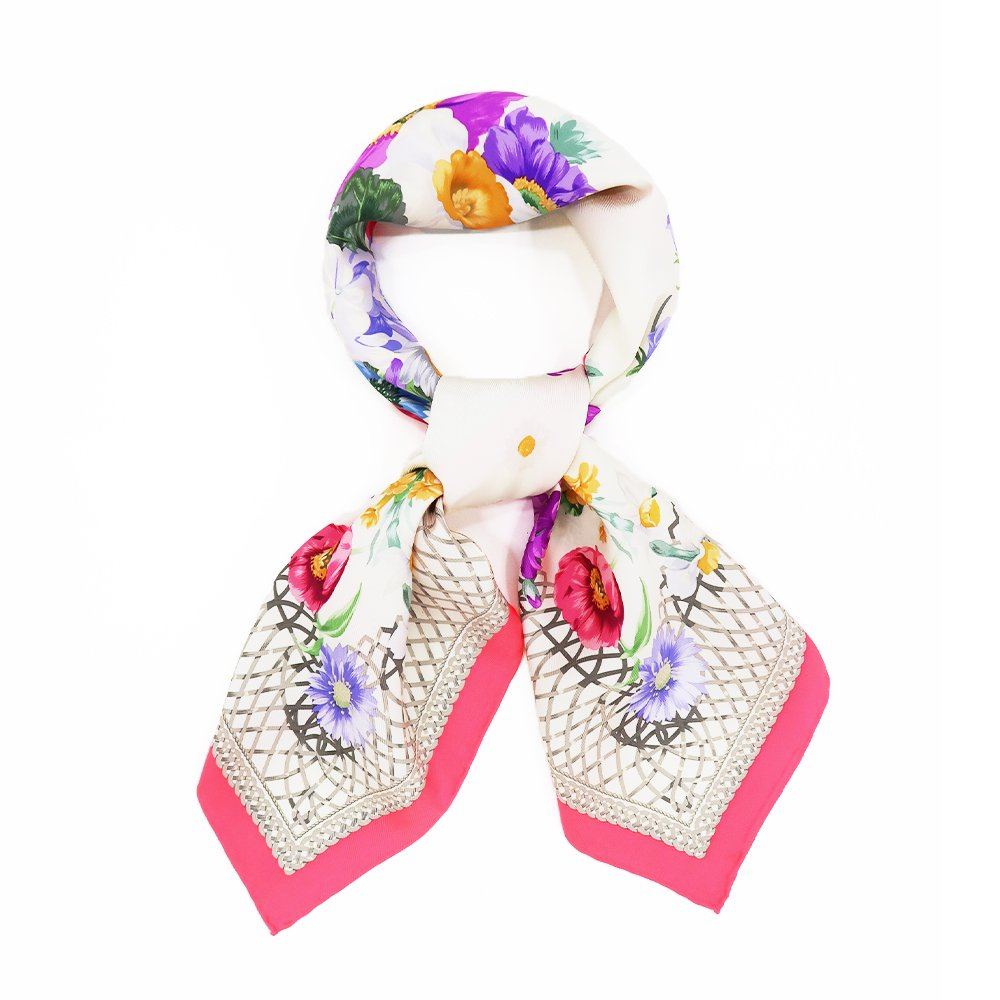 田園の花(CM6-818) 伝統横濱スカーフ 大判 シルクツイル スカーフの画像7