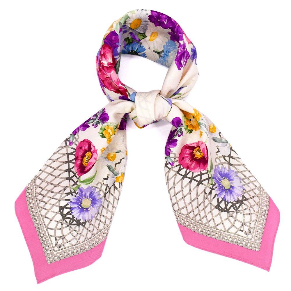 田園の花(CM6-818) 伝統横濱スカーフ 大判 シルクツイル スカーフの画像8
