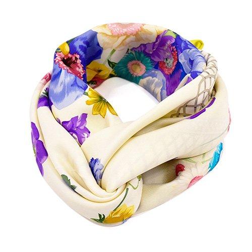 田園の花(CM6-818) 伝統横濱スカーフ 大判 シルクツイル スカーフ