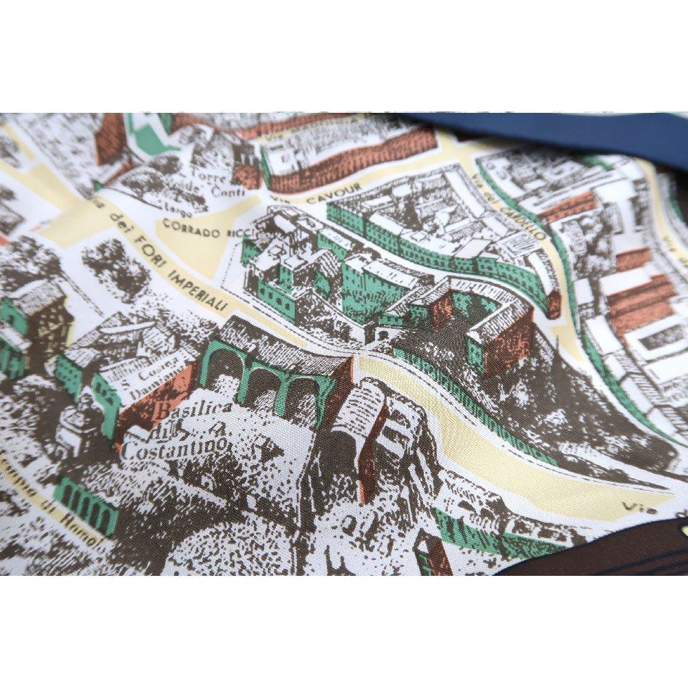 アンティークマップ (CHQ-094) Marcaオリジナル 大判  シルクツイル スカーフの画像11