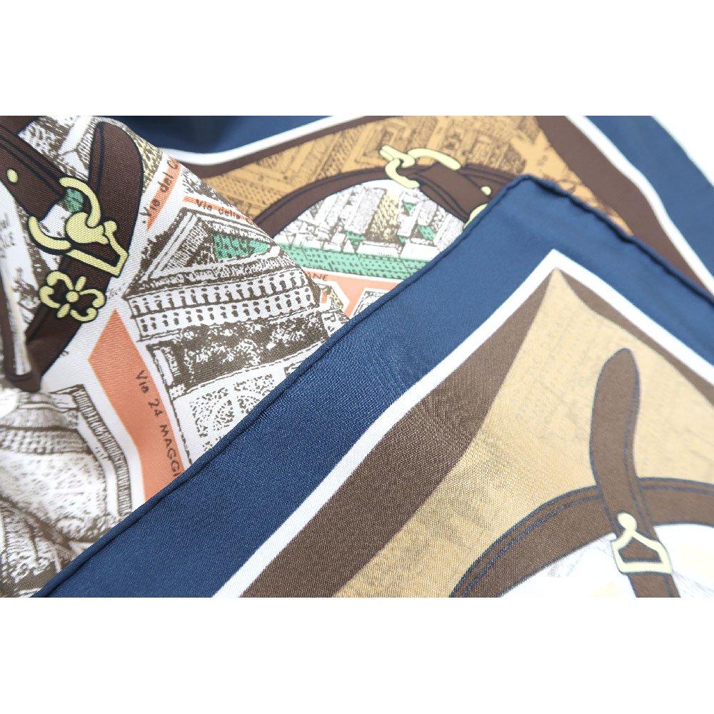 アンティークマップ (CHQ-094) Marcaオリジナル 大判  シルクツイル スカーフの画像12