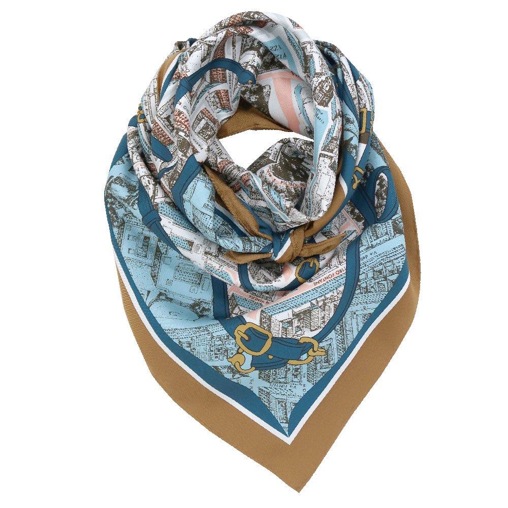 アンティークマップ (CHQ-094) Marcaオリジナル 大判  シルクツイル スカーフの画像3