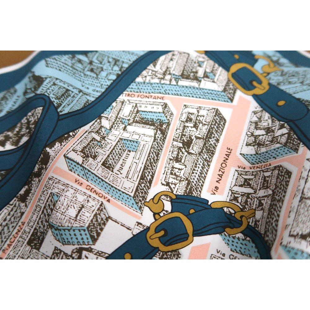 アンティークマップ (CHQ-094) Marcaオリジナル 大判  シルクツイル スカーフの画像4