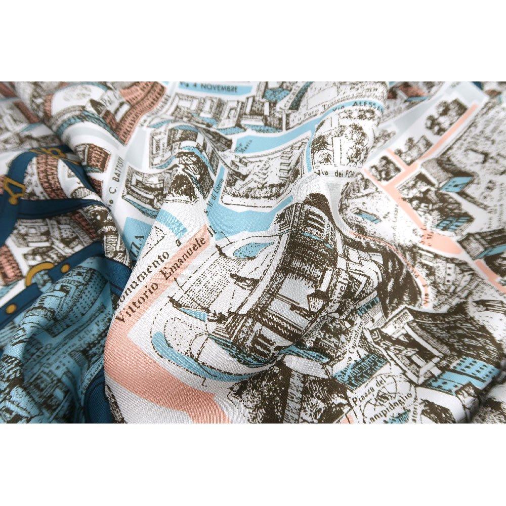 アンティークマップ (CHQ-094) Marcaオリジナル 大判  シルクツイル スカーフの画像5