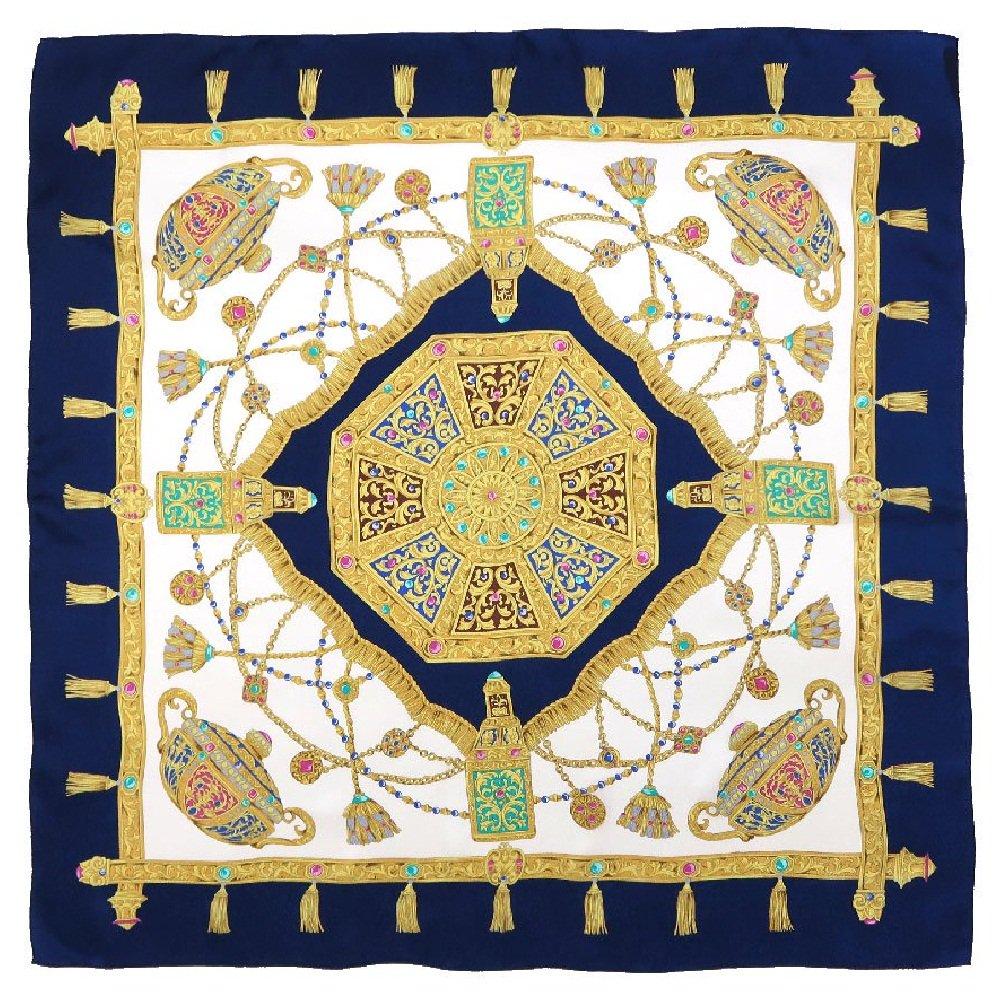 飾り壷(CM4-337) Marcaオリジナル 大判 シルクペイズリージャカード スカーフ