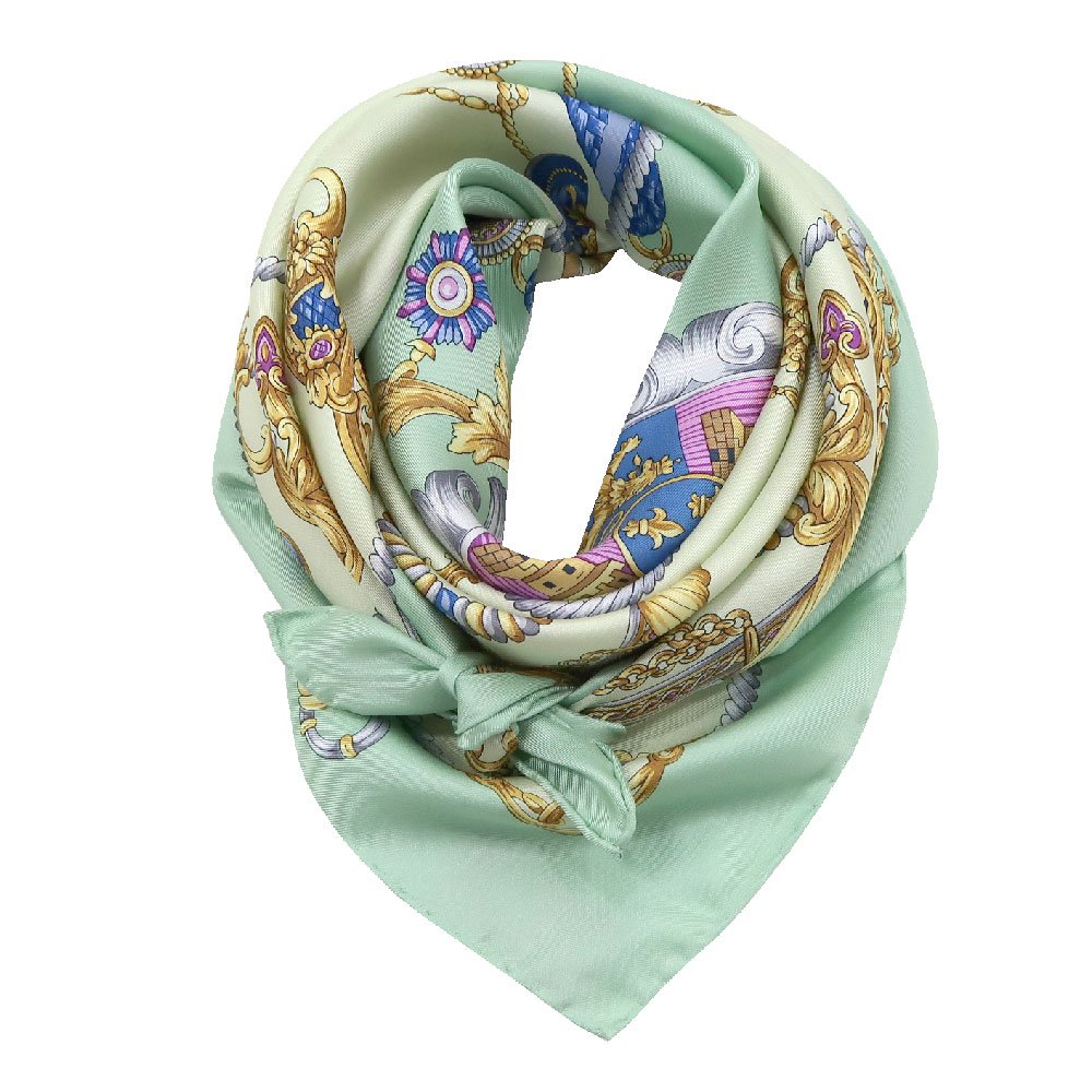 クツワと鞍(CM4-083) Marcaオリジナル 大判  シルクツイル スカーフの画像1