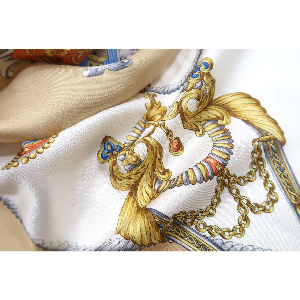 クツワと鞍(CM4-083) Marcaオリジナル 大判  シルクツイル スカーフの画像11