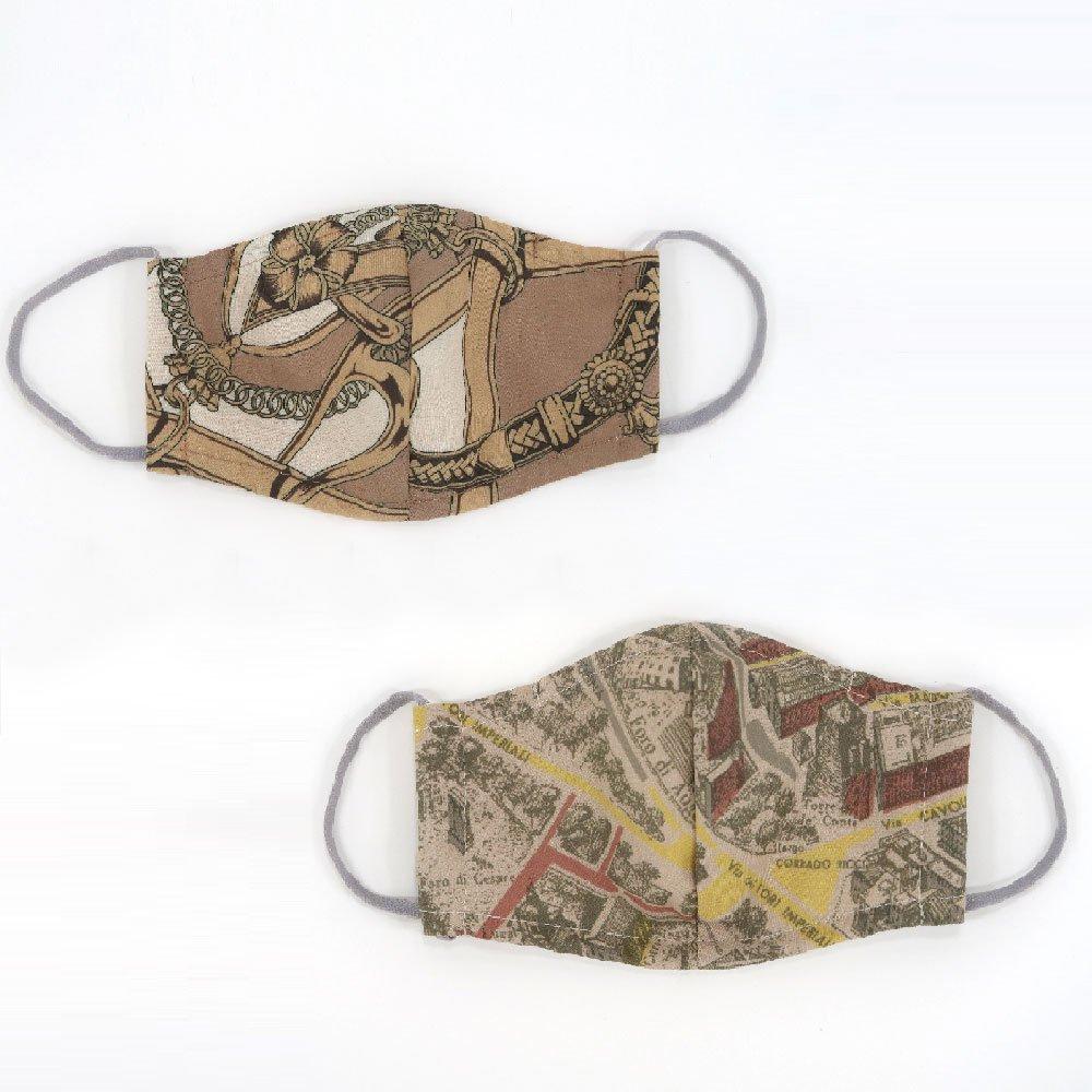 お肌にやさしいプリントマスク(U20-091) IJ スカーフ柄 Marcaオリジナルの画像1