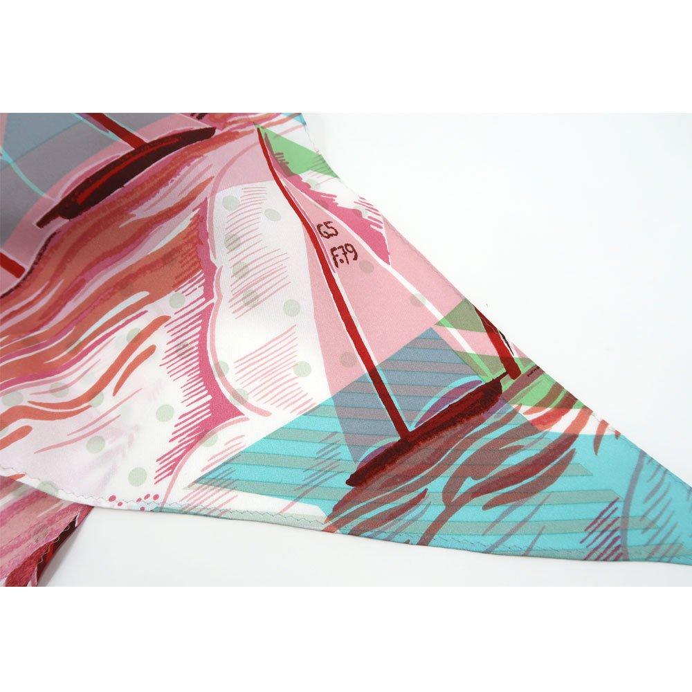 ジオメトリック・ヨット(NEO-001) Marcaオリジナル 大判 シルクツイル 剣先スカーフの画像10