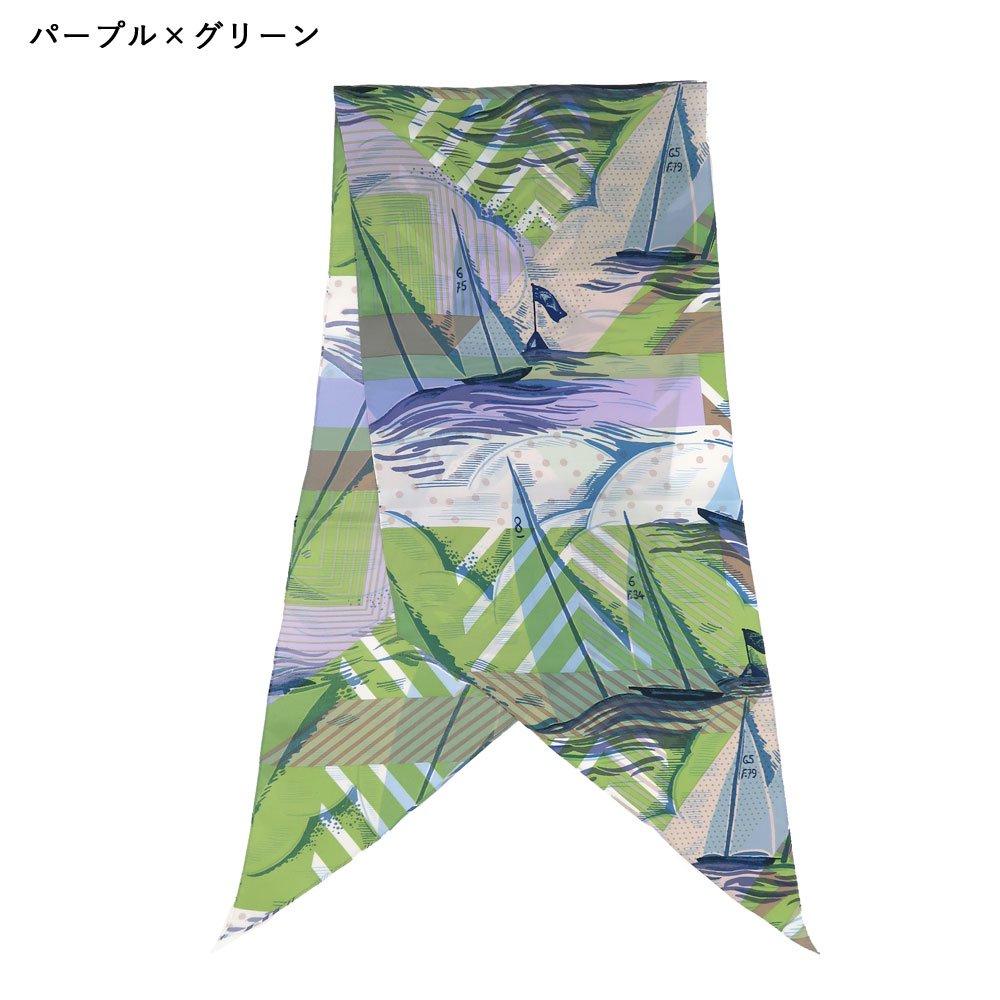 ジオメトリック・ヨット(NEO-001) Marcaオリジナル 大判 シルクツイル 剣先スカーフの画像6