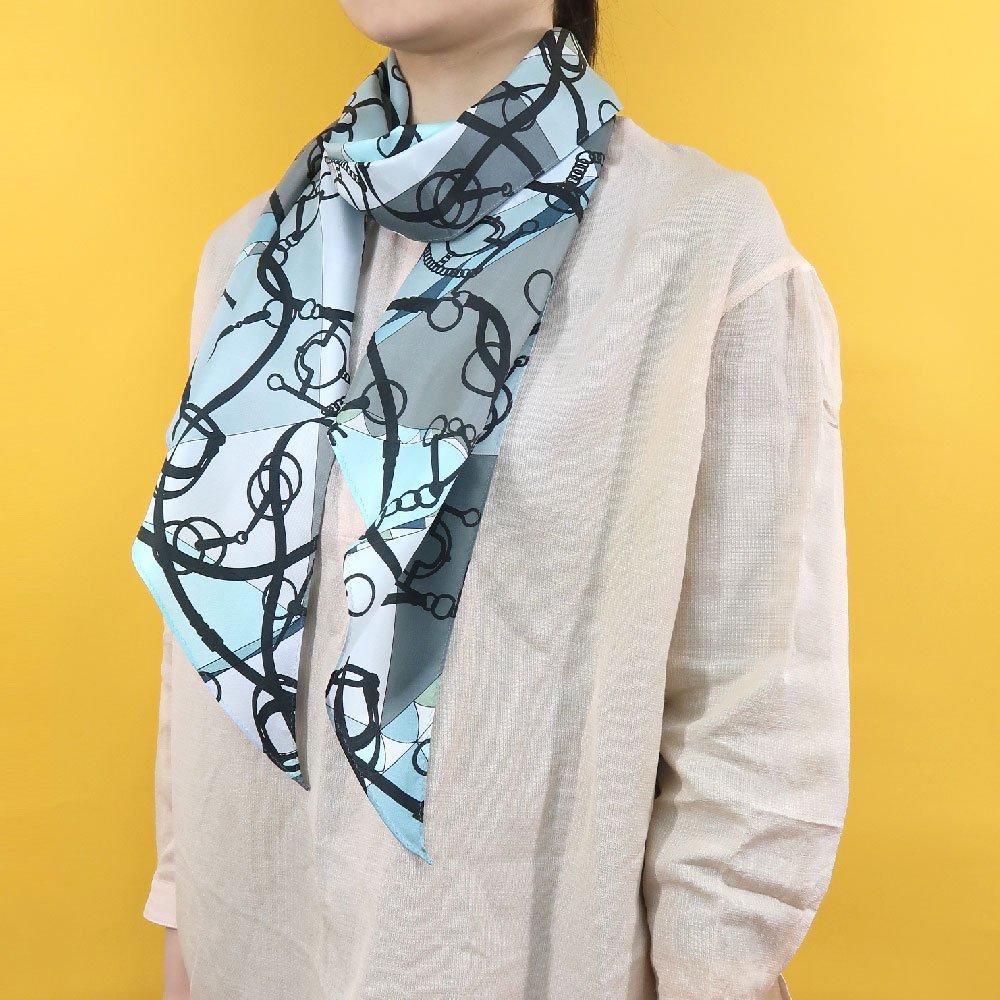 ジオメトリック・ビット(NGO-070) Marcaオリジナル 大判 シルクツイル 剣先スカーフの画像3
