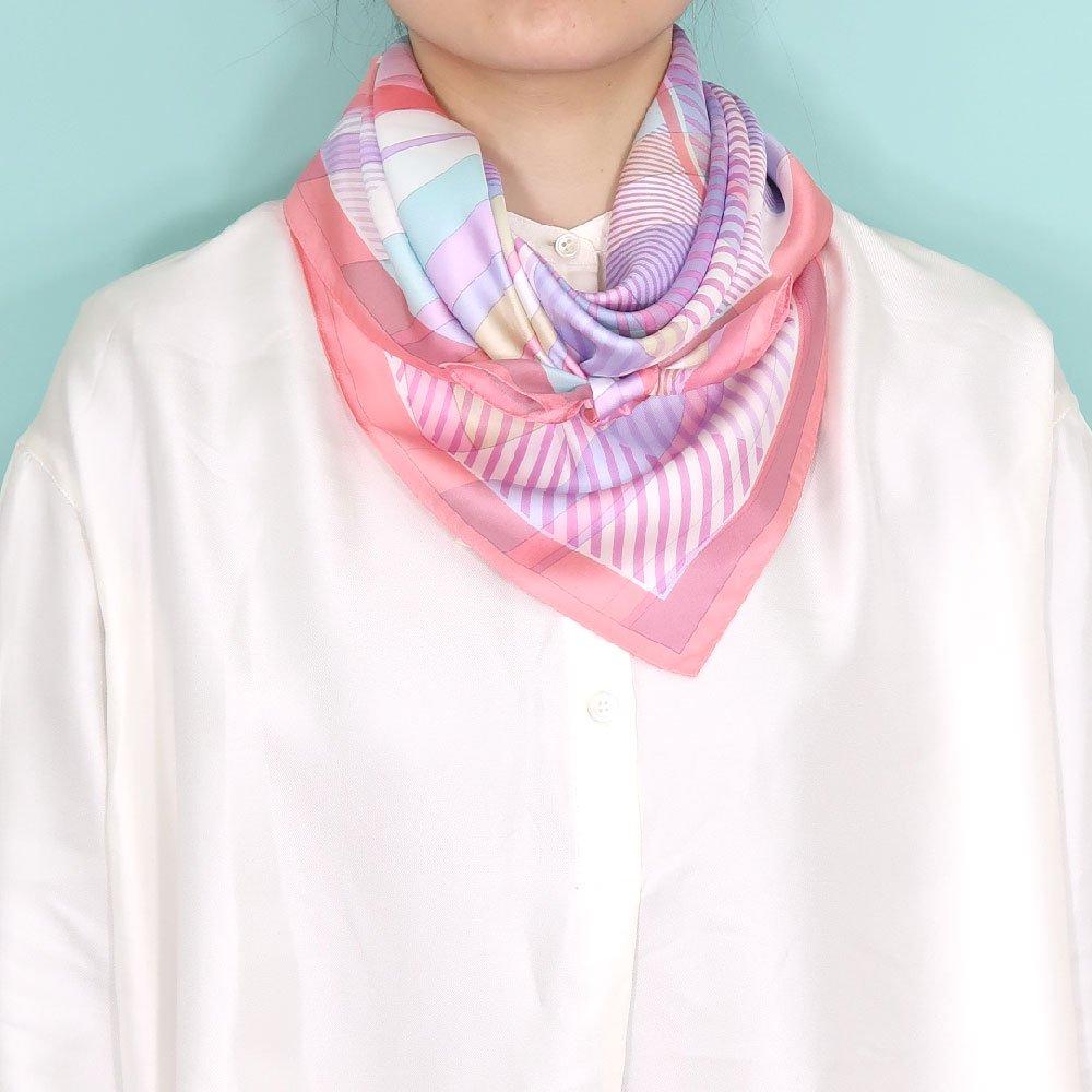 幾何チェックミックス(CGF-157) Marcaオリジナル 大判 シルクツイル スカーフの画像14