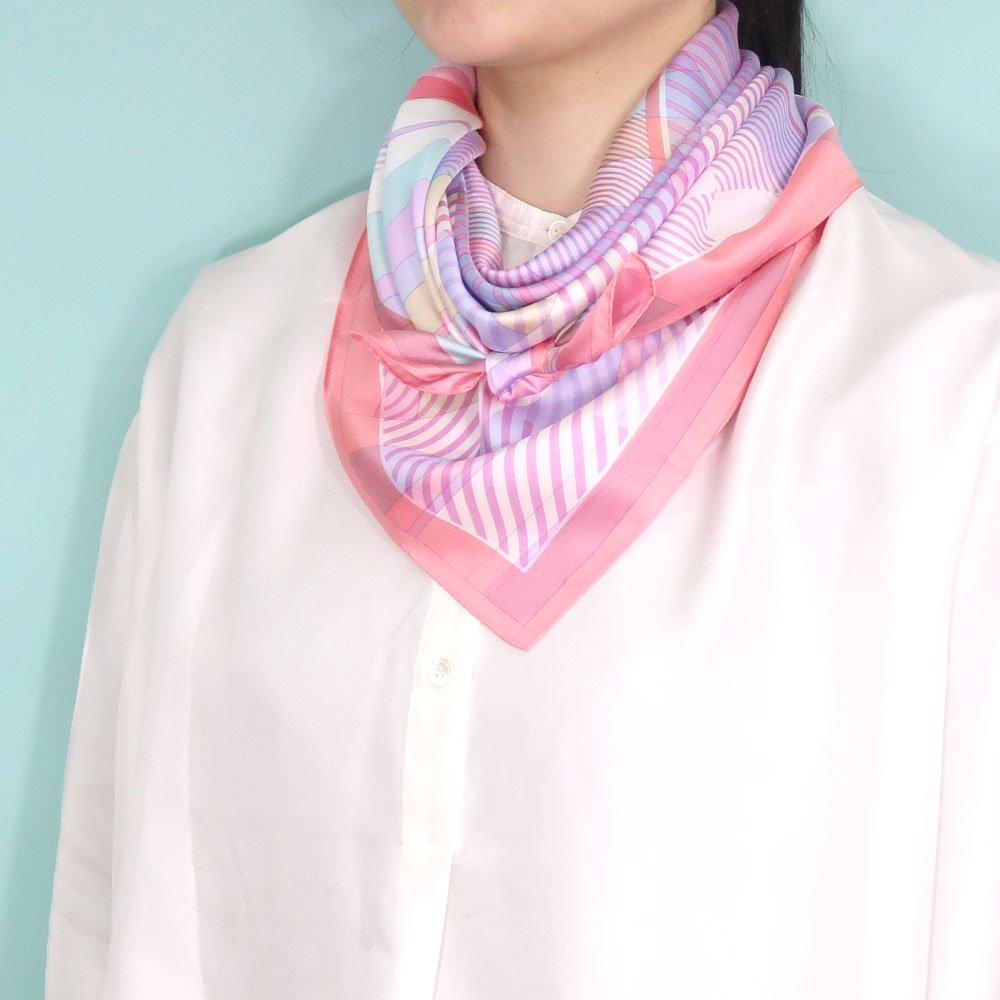 幾何チェックミックス(CGF-157) Marcaオリジナル 大判 シルクツイル スカーフの画像15