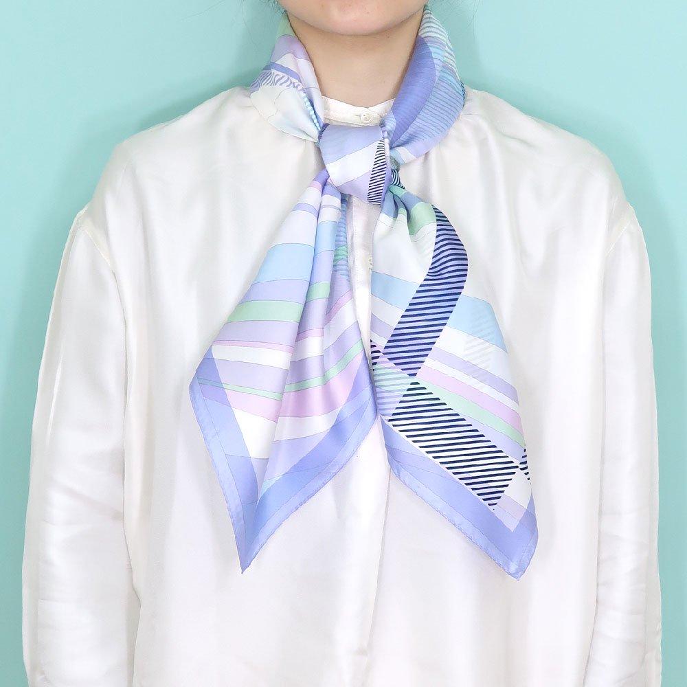 幾何チェックミックス(CGF-157) Marcaオリジナル 大判 シルクツイル スカーフの画像5