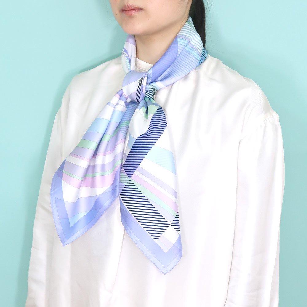 幾何チェックミックス(CGF-157) Marcaオリジナル 大判 シルクツイル スカーフの画像6