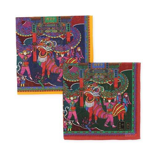チャイナタウン 横濱絵シリーズ (YZ6-566) 伝統横濱スカーフのハンカチ