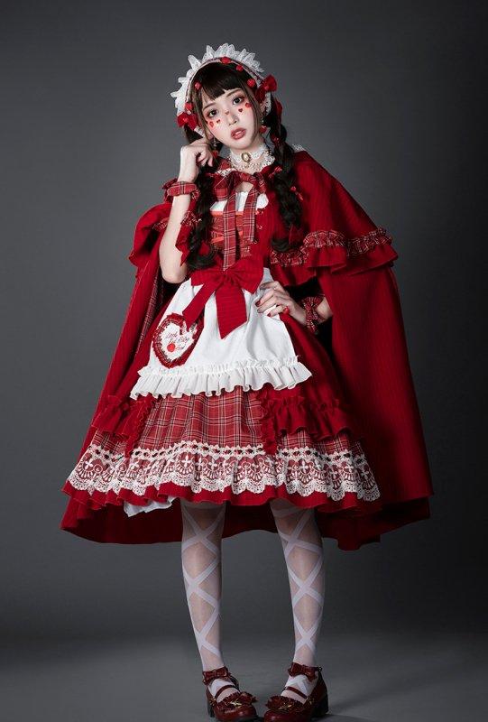 【取り寄せ】赤ずきんちゃんフードマント付きジャンパースカート4点セット【YUPBRO】