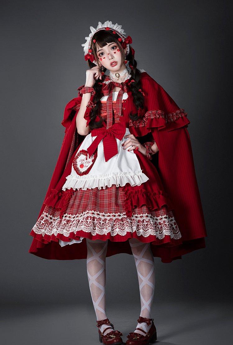 【即納】赤ずきんちゃん フードマント付きジャンパースカート4点セット【YUPBRO】