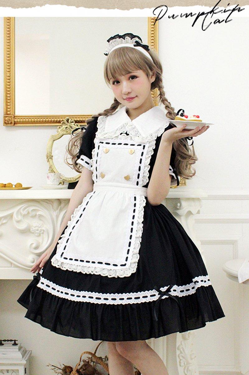 【即納】Classical Maid Etude ワンピース+カチューシャセット【Pumpkin Cat】