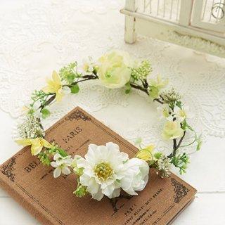 ブーケデコの花冠 S 白、イエロー、G系