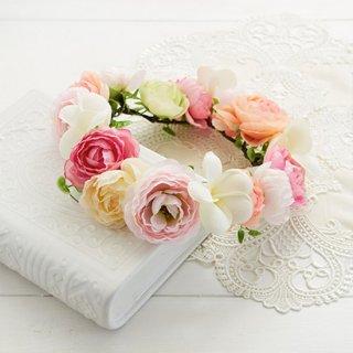 (造花)ブーケデコの花冠 L ピンク系