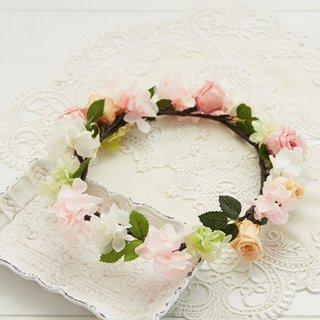 (造花)ブーケデコの花冠 S 淡いピンク、白系
