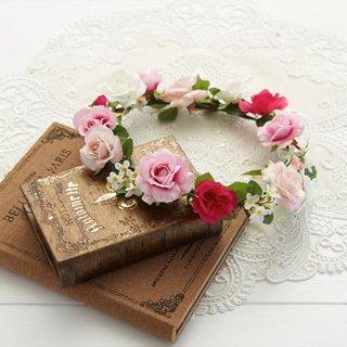 (プリザ)ブーケデコの花冠 S ピンク系