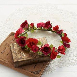 (プリザ)ブーケデコの花冠 S レッド系
