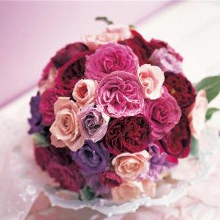 (プリザ)紫ピンクのグラデラウンドブーケ。