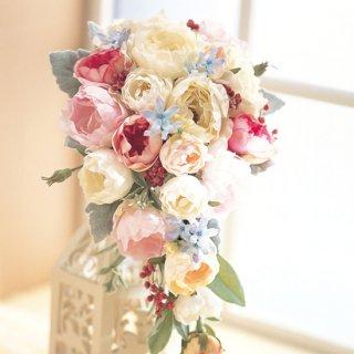 (プリザ)ローズとブルー小花のキャスケードブーケ