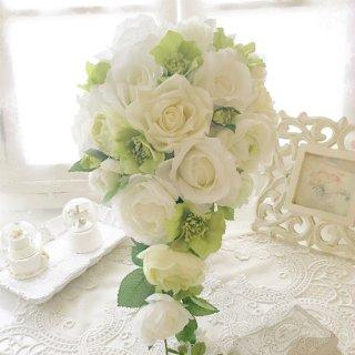 (造花)白グリーンのローズキャスケード