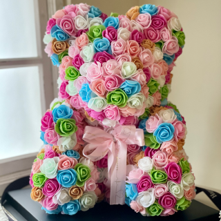 テディベア☆小さなフエルト素材の造花のバラで出来た可愛いテディベア☆  パステルピンク・ブルー系