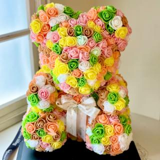 テディベア☆小さなフエルト素材の造花のバラで出来た可愛いテディベア☆  イエローオレンジ系