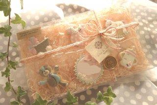 ご出産祝いギフトBOX(ピンク)   クリアBOX, ラッピング代込み