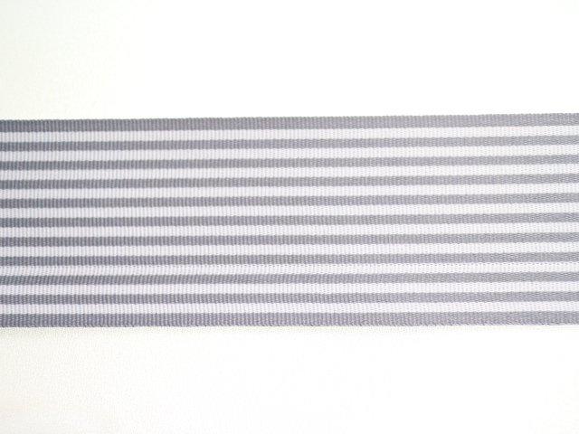 ストライプリボン(グレー&ホワイト)40mm幅/5m