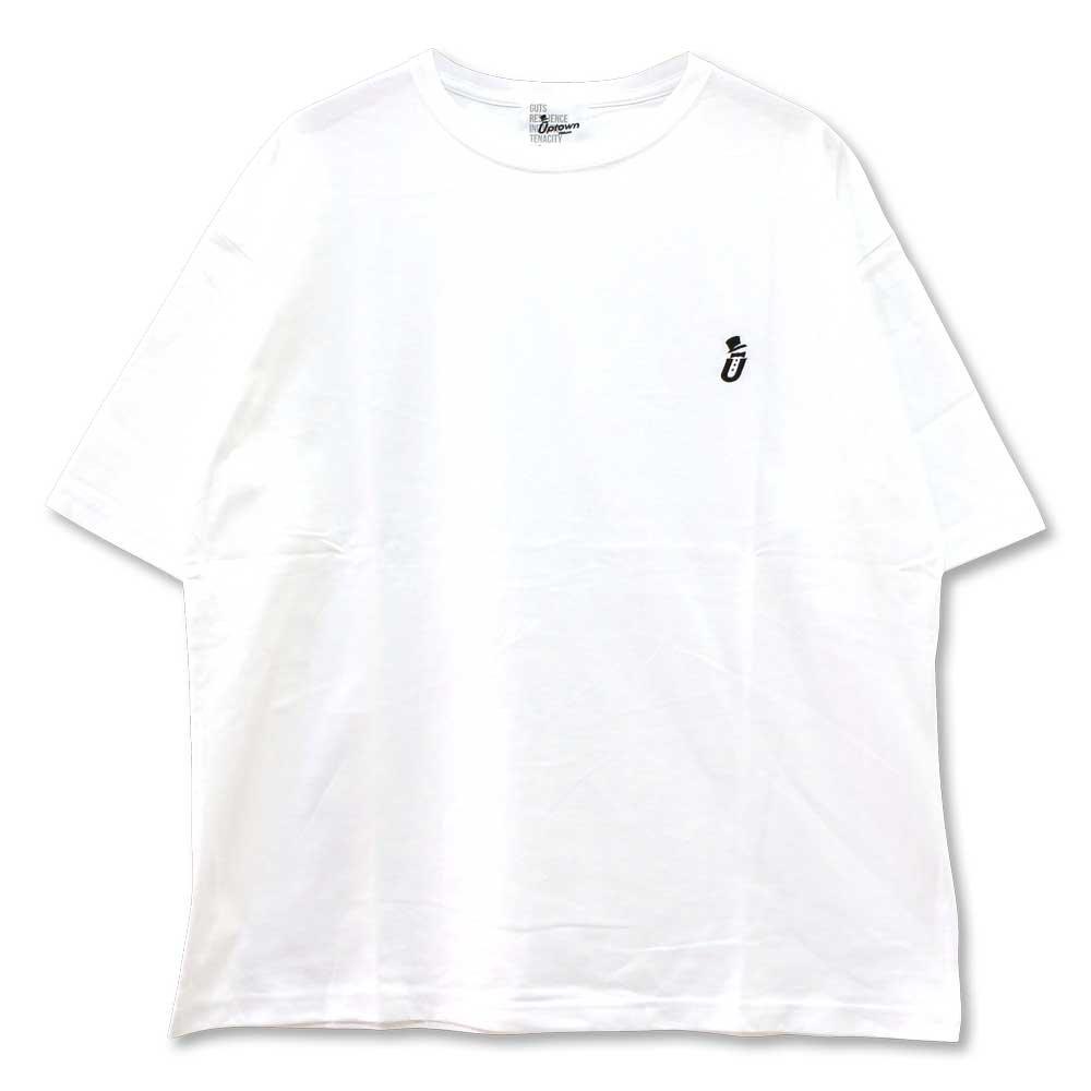 UPTOWN BIG Tee ONE POINT アップタウン ビッグ Tシャツ ワンポイント WHITE/BLACK