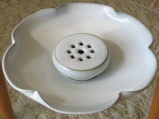 許徳家 白釉 荷葉茶盤(特大)