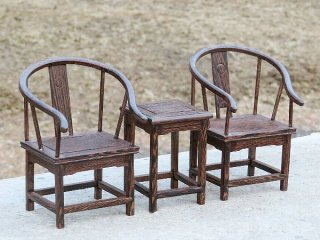 ミニチュア中国家具 鶏翅木 圏椅