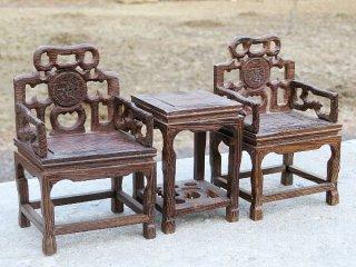 ミニチュア中国家具 鶏翅木 太師椅