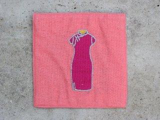 チャイナドレス麻コースター(旗袍 purple on pink)