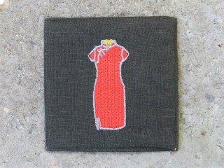 チャイナドレス麻コースター(旗袍 red on gray)