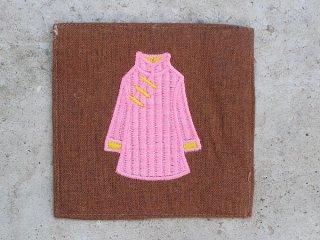 チャイナドレス麻コースター(唐装 pink on brown)