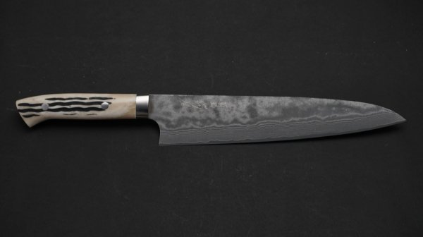 佐治武士 ダマスカス鹿柄45層 牛刀 鹿角柄 (白)<br>Saji 45 Damascus Gyuto Stag Handle (White)