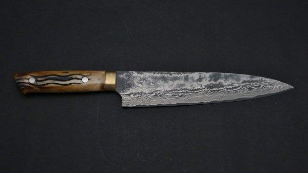 佐治武士 ダマスカス鹿柄45層 牛刀 鹿角柄 (茶)<br>Saji 45 Damascus Gyuto Stag Handle (Brown)