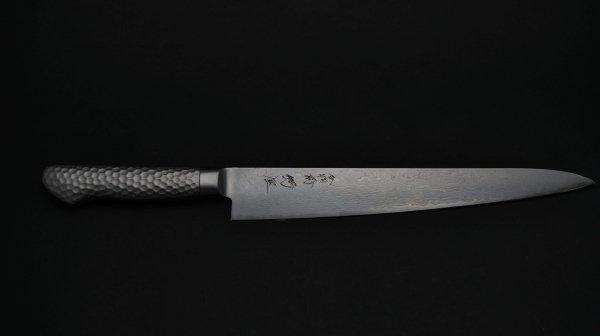 モリブデン鋼63層 筋引 ステンレス柄<br>Molybdenum 63 Damascus Sujihiki Stainless Handle