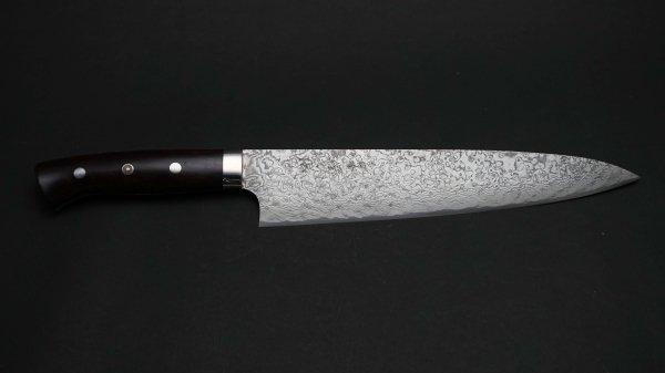 佐治武士作 63層 粉末ハイス鋼 牛刀 アイアンウッド柄<br>Saji Powder Steel Gyuto Ironwood Handle