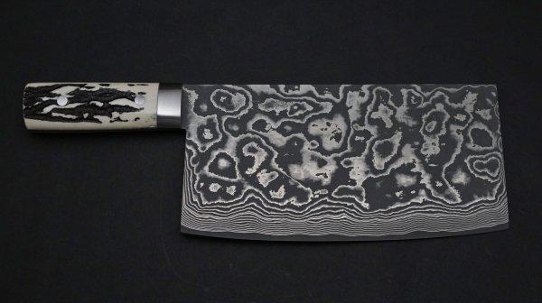 佐治武士 ダマスカス鹿柄45層 中華包丁 鹿角柄 (白)<br>Saji 45 Damascus Chinese Cleaver Stag Handle (White)