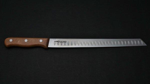 モリブデン鋼 サーモンナイフ 木柄 (斜めカット)<br>Molybdenum Salmon Slicer Wood Handle (Cut)